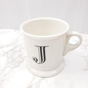 Anthropologie Monogram J Coffee Tea Mug White